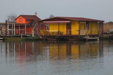 Photo Stilt house and fishing nets along the Po Delta Italy