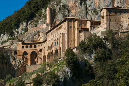 The famous monastery of Saint Benedict near Subiaco, Lazio, Italy Фото со стока