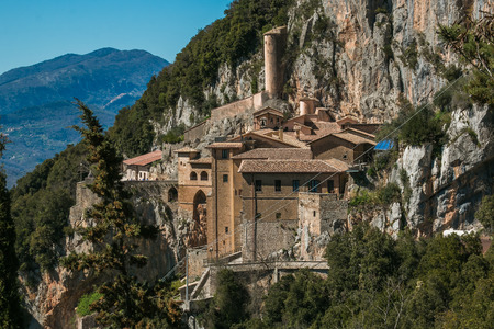 Saint Benedict abbey perched on the rock, Subiaco Stock Photo