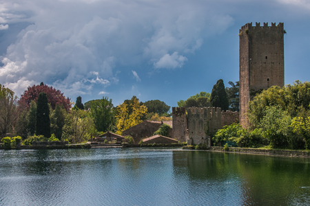 Lake of Ninfa garden before the storm