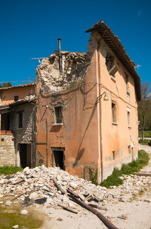 House destroyed by earthquake Stock Photo