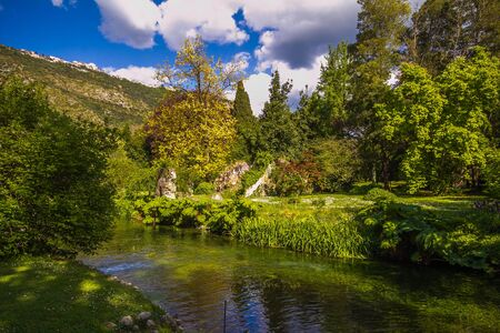 Landscape with river in Lazio, Italy, Europe Stock Photo