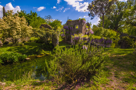 Enchanted spring landscape with little river, Italy Stock Photo