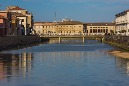 The river Misa in the historic center of Senigallia city, Marche, Italy Editorial