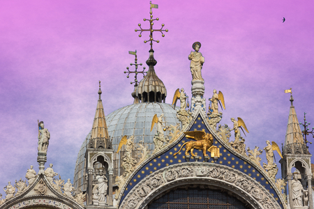 Architectural detail of Basilica San Marco at sunset, Venice, Italy Reklamní fotografie