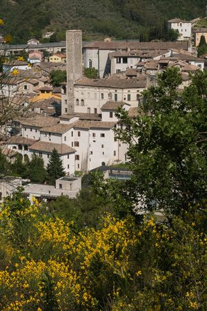 Historic center of Spoleto Stock Photo