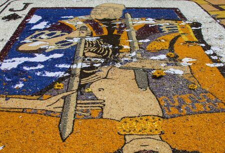 Design made with petals of flowers at Infiorata of Spello