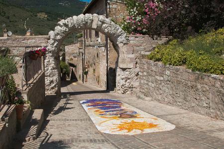 The feast of infiorata in the historic center of Spello