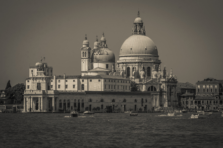 Black and white view of the Basilica della Salute, Venice