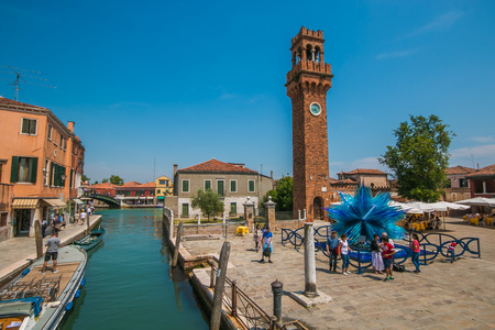 The famous blue glass sculpture display by Simone Cenedes in Murano island located in the Venetian lagoon
