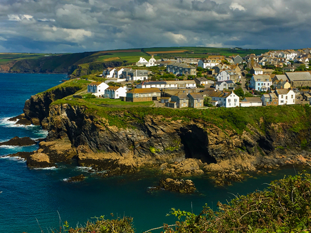 Picturesque view of Port Isaac, fishing village situated on the North Cornwall Coast, England UK Stock Photo