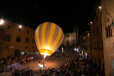 TODI, ITALY - JULY 29, 2017: Sagrantino Italian International Balloon Challenge Cup in the main square of Todi city