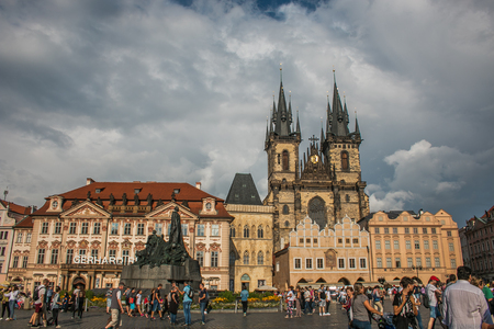 View of Church of Our Lady before Tyn in Old town square, Czech, Prague