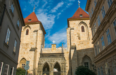 building a chain: The old church of Our Lady under the Chain in the center of Prague, Bohemia