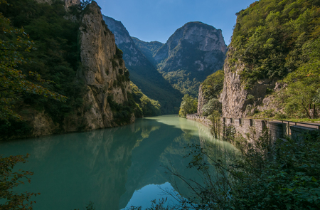Beautiful view of mountain river in Italy