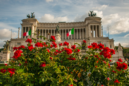 Piazza Venezia, National Monument to Vittorio Emanuele II crowded with red roses, Rome