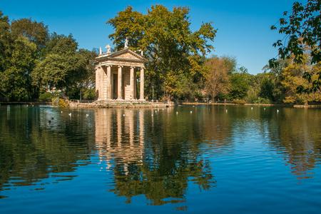Idyllic lake of Villa Borghese, Pincian Hill, Rome, Italy Stock Photo
