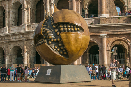 Pomegranate sculpture of Giuseppe Carta in front of the Colosseum in Rome, Lazio