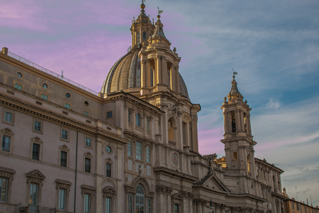 SantAgnese in Agone church in Piazza Navona at sunset