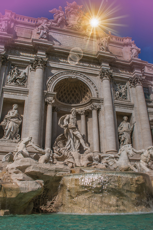 italian fountain: Wonderful and romantic view of Trevi fountain at sunset in Rome