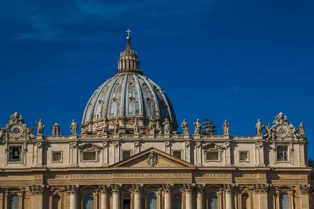 michelangelo: Magnificent view of Saint Peter basilica with moon on blue sky, Vatican City, Rome