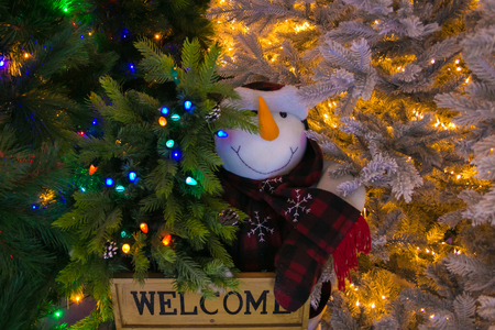 Snowman on christmas tree Stock Photo