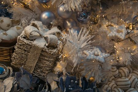 Christmas background with gift, decorations and balls Stock Photo