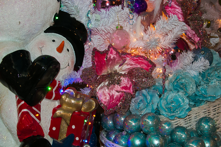 Detail of colored Christmas tree and snowman