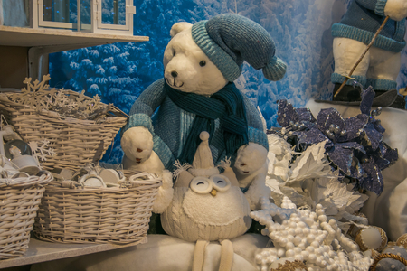 Photo of polar bear with blue hat and pretty owl