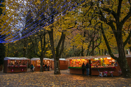 The park of Acqua Santa with the Christmas market in Chianciano Terme at winter time