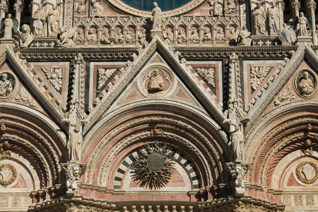Entrance of Siena cathedral in Tuscany