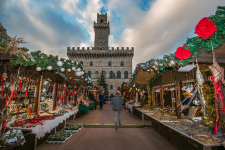 Beautiful Christmas market in the main square of Montepulciano, Tuscany, Italy