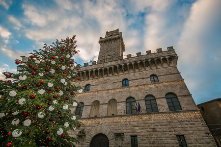 Big Christmas tree in the square of Montepulciano, Tuscany