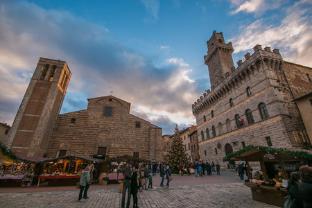 The main square of Montepulciano at Christmas time with market