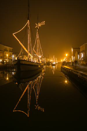 Christmas Nativity scene of port channel of Cesenatico, best tourist destination of the Romagna Riviera in Italy Stock Photo