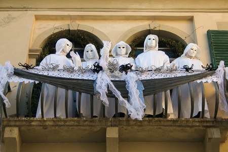 Group of ghosts in the balcony of old house for carnival