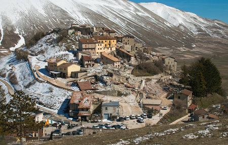 Aerial view of Castelluccio di Norcia destroyed by terrible earthquake of central Italy