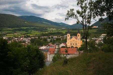 Panoramic view of Brunico city in the italian Dolomites Stock Photo