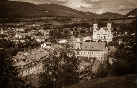 Sepia view of Brunico (Bruneck) in Val Pusteria