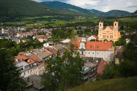 Panoramic view of Brunico in the Italian Dolomites Stock Photo