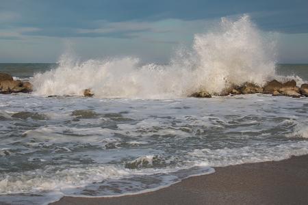 Winter stormy sea near the beautiful beach of Numana