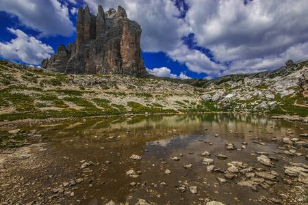 Wonderful view of the famous Tre Cime di Lavardo in Alto Adige, Italy