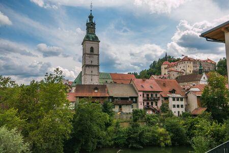 View of medieval center of Skofja Loka in Slovenia