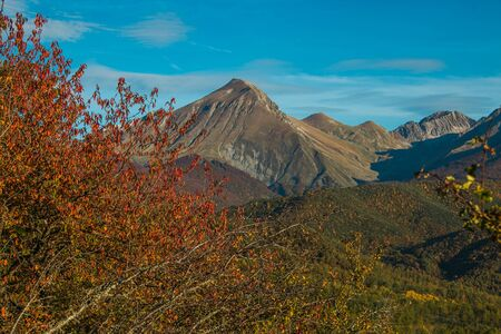 Autumn view of Corvo mount in Abruzzo