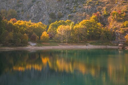 The Lake of San Domenico rises in the Alta Valle del Sagittario, in the territory of the municipality of Villalago, in a magical environment ideal for relaxation, fishing and pic nic Zdjęcie Seryjne
