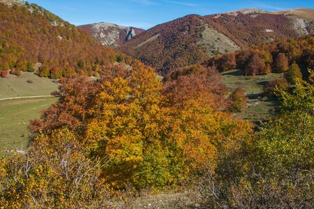 Passo Godi in Abruzzo with wonderful colors of autumn season, Italy