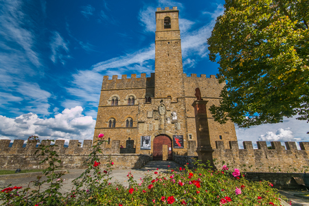 POPPI, ITALY - OCTOBEER 6, 2019: Poppi castle or the Castello dei Conti Guidi) is a medieval castle in Poppi, Tuscany, Italy, formerly the property of the noble family of the Conti Guidi