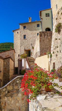 View of the medieval center of Postignano village in Umbria