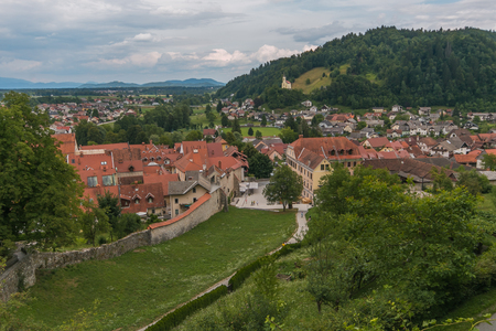 Panoramic view of the historic center of Skofja Loka from the castle in Slovenia