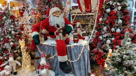 TERNI, ITALY - OCTOBER 20, 2019: Interior of big christmas shop with santa claus and decorations in the center of Terni